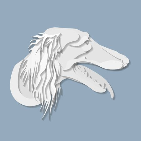 Side portrait of saluki in paper cut style, head of greyhound dog on isolated blue background Illustration