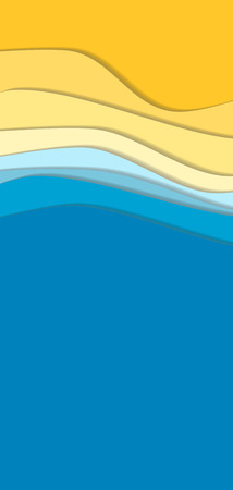 yellow paper: Yellow and blue curve wave line background, sea and beach in paper cut style. space for text. Cropped with Clipping Mask