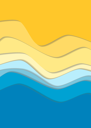 Yellow and blue curve wave line background, sea and beach in paper cut style. Cropped with Clipping Mask Иллюстрация