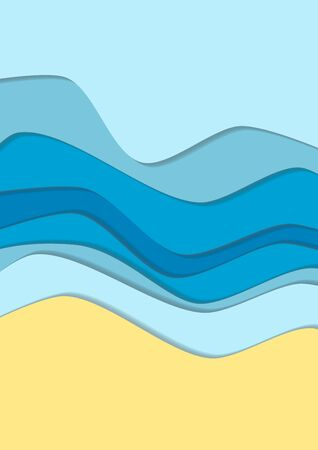 cropped: Yellow and blue curve wave line background, sea and beach in paper cut style. Cropped with Clipping Mask Illustration