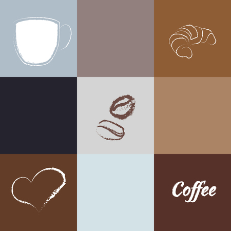 Seamless coffee background with caps, text, coffee beans, heart, and croissant