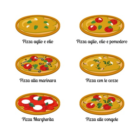 olio: Set of sort of pizza with different ingredients