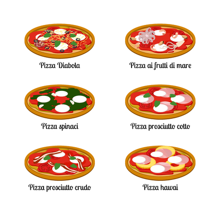 Set of sort of pizza with different ingredients