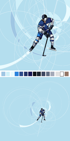 Abstract silhouette of Ice hockey player in blue and white dress, made with circles Illustration