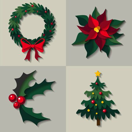 Vector set of christmas green floral decorations - wreath with bow, Poinsettia flower as know as Christmas star, omela and decorated christmas tree. Icon image made in layers paper cut style Illustration