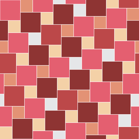 femine: Vector pastel red tiles seamless pattern, square grid textile print, abstract texture for fashion design