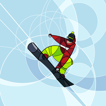 Vector illustration snowboarder in red and green dress on blue background. abstract image made with circles. winter sport Illustration