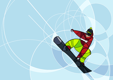 Vector illustration snowboarder in red and green dress on blue background. abstract image made with circles. winter sport. Horizontal composition