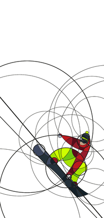 Vector illustration snowboarder in red and green dress on white background. abstract image made with circles. winter sport. Vertical composition Illustration
