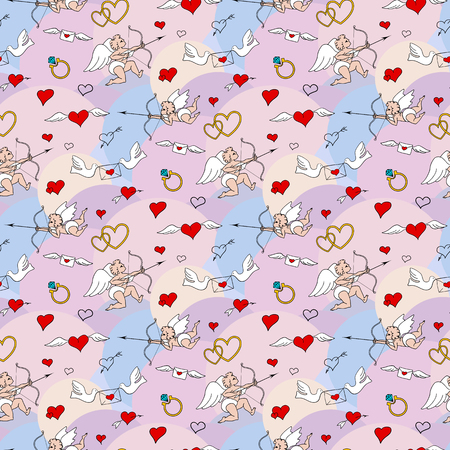 Seamless pattern with angels and hearts in doodle style. Valentines Day. Romantic love hand draw on pastel background Illustration