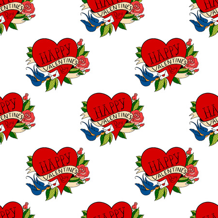 school: Seamless pattern with hearts in old school tattoo style. Valentines Day Romantic image vith letter on white background Illustration