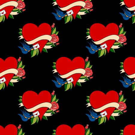 Seamless pattern with hearts in old school tattoo style. Valentines Day Romantic image on black background Stock Photo