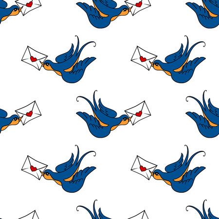swallow bird: vector seamless pattern with swallow bird, made in old school tattoo style. Valentines day or wedding design. Stock Photo