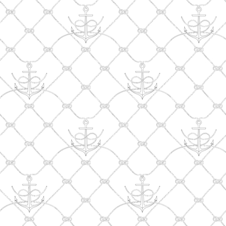 Nautical rope seamless fishnet pattern with anchors on white or dark blue background, cord grid