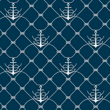 cordage: Nautical rope seamless fishnet pattern with anchors on white or dark blue background, cord grid