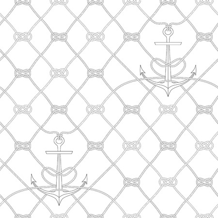 Nautical rope seamless fishnet pattern with anchors on white background, cord grid