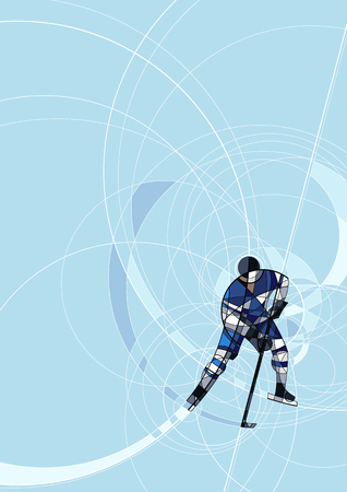 wintersport: Abstract image of ice hockey player in blue and white dress, made with circle