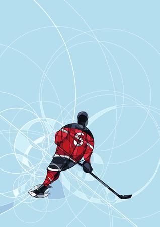 Abstract beeld van ijshockeyspeler in rode en zwarte jurk, gemaakt met cirkel Stock Illustratie