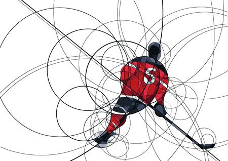 Abstract beeld van ijshockeyspeler in rode en zwarte kleding, gemaakt met cirkel