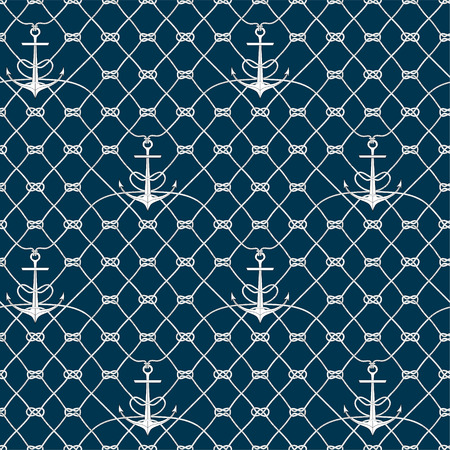 fishnet: Nautical rope seamless fishnet pattern with anchors on white or dark blue background, cord grid
