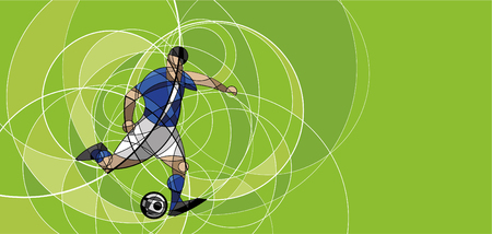 Abstract image of soccer or football player with ball on green background, made with circle