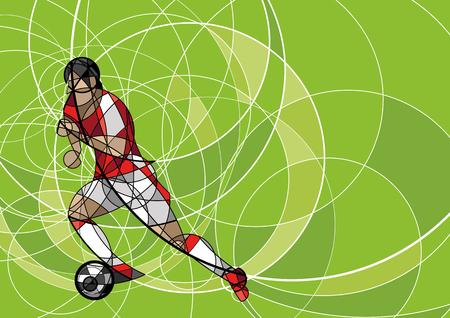 Abstract beeld van voetbal of voetbal speler met bal op groene achtergrond, gemaakt met cirkel Stock Illustratie