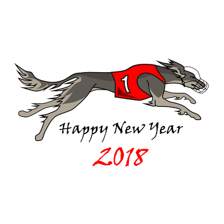 Running dog saluki breed, in dog racing or coursing dress number one Illustration