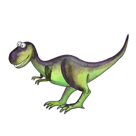 prehistoric dinosaur tyrannosaurus t rex isolated on white background in cartoon watercolor style.