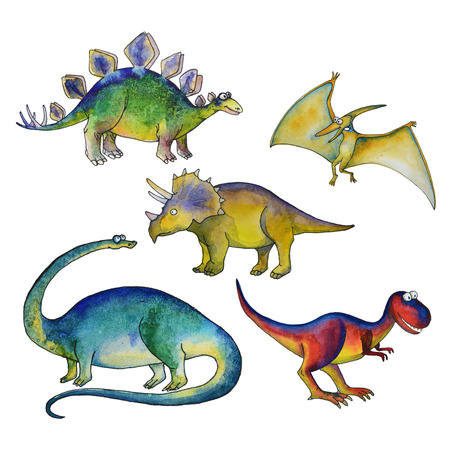 Jurassic period dinosaurs set with Diplodocus triceratops pterodactyl tyrannosaurus and diplodocus in watercolor illustration