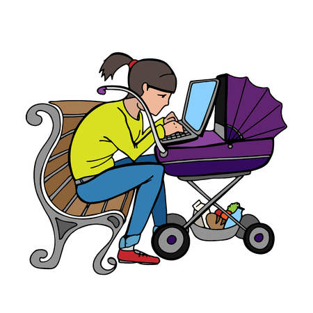 woman laptop: Young working mother sitting on bench and using laptop at stroller.