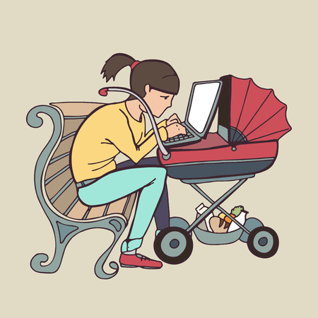 Young mother sitting on bench and using laptop at stroller, vector image, Online working or studying concept Illustration