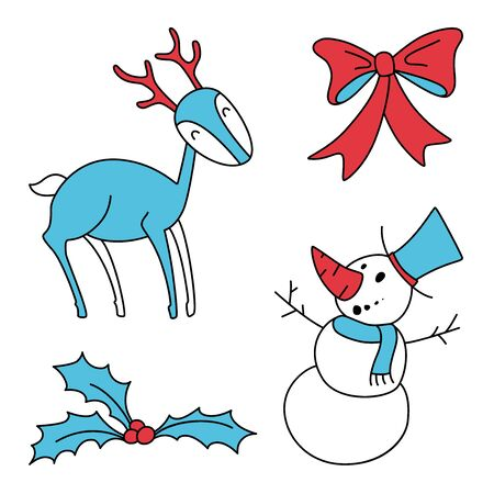Christmas hand drawn vector set with, holly berries, smiling snowman, xmas gift saten bow and deer