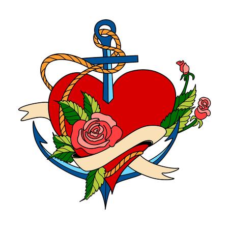 Vector la tarjeta de felicitación del día de tarjetas del día de San Valentín con el ancla y el corazón, hechos en estilo clásico del tatuaje de la escuela vieja. Diseño retro colorido, aislado en fondo blanco Foto de archivo - 93079379