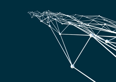 Blockchain cell technology background with connecting dots and lines. Abstract futuristic illustration of polygonal surface.