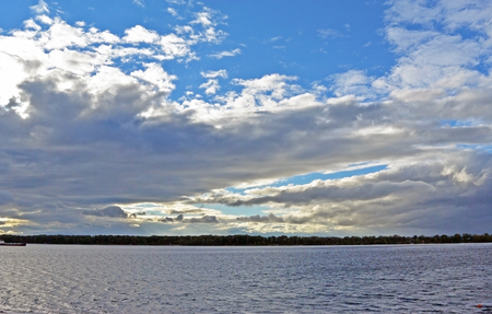 View on Volga river from Samara city at sunny cloudy day, Beautiful blue sky with cumulus clouds