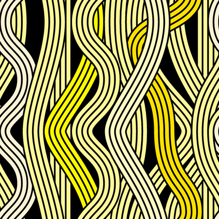 Seamless abstract noodle wavy pattern. Endless vector illustration. pop art style design