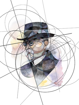 Abstract watercolor portrait of Thomas G. Masaryk, founder and first President of Czechoslovakia, statesman, sociologist and philosopher.