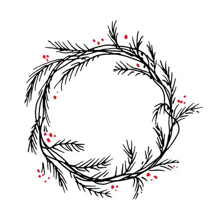 Vector silhouette of christmas wreath. Hand drawn branches and berries, circle frames or borders