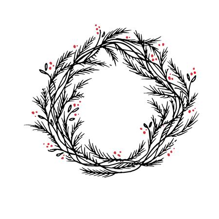 Vector silhouette christmas wreath frame or border 版權商用圖片
