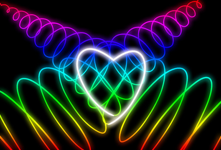 Abstract neon heart shape on dark background. Design for Happy Valentines Day