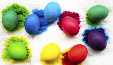 Freshly colored Easter eggs on paper napkin.