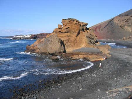 lanzarote: Volcanic Beach at El Golfo, Lanzarote, Canary Islands, Spain