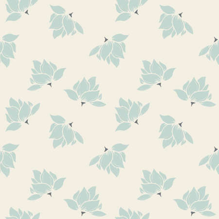 Mint Green Seamless Floral Pattern on Cream Background