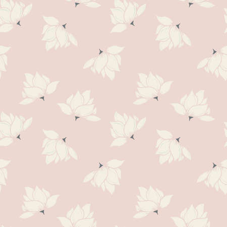 Cream and Pink Floral Seamless Pattern, Grey Accent