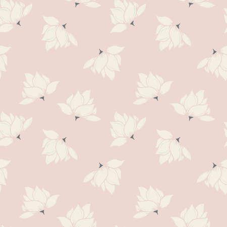 Crème en roze bloemen naadloos patroon, grijs accent Stock Illustratie