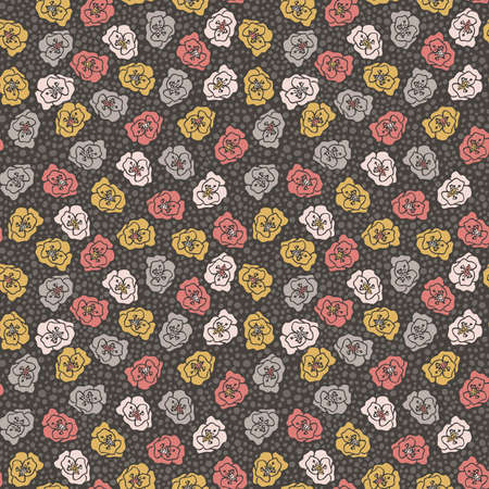 Floral and polka dot seamless pattern illustration.