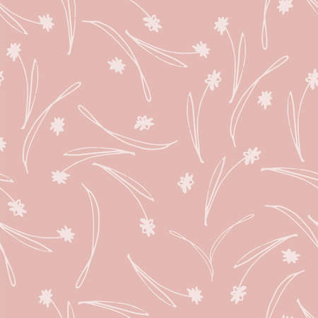 Seamless Pink Tossed Floral Pattern