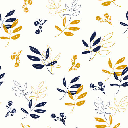 Tumbling Leaves in Navy and Mustard Yellow