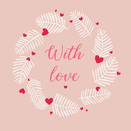 Valentines frame with soft pink background and red hearts and white winter twigs. Font: Nightcall Vetores