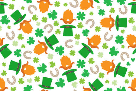 St. Patrick's leprechaun pattern with funny illustrations Illustration